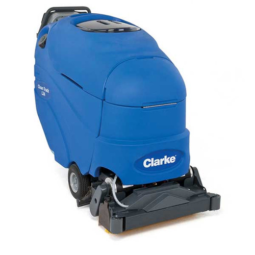 Clarke CleanTrack L24 Carpet Extractor Battery Powered 56317012 self contained 13 gallon 18 inch cleaning path 100psi pump with 255ah maintenance free agm gel batteries