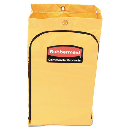 Rubbermaid rcp1966719 zippered vinyl cleaning cart bag, 21gal, 17 .25w x 10 .5d x 30 .5h, yellow replaces rcp6183yel