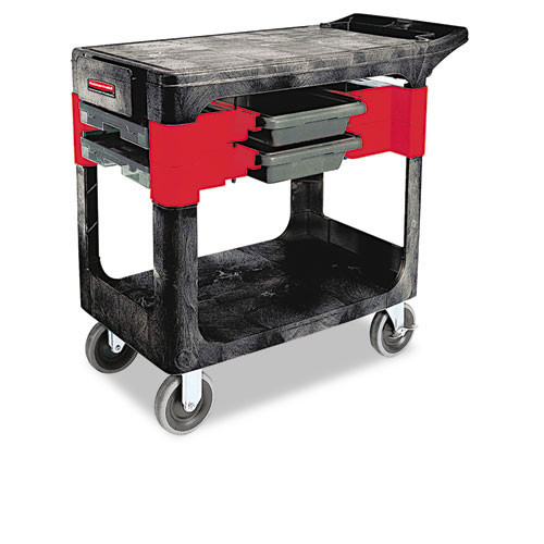 Rubbermaid rcp618000bla trades cart, two shelf, 19 .25w x 38d x 33 3 8h, black
