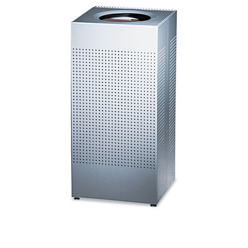 Rubbermaid rcpsc14eplsm designer line silhouettes receptacle, steel, 16gal, silver metallic