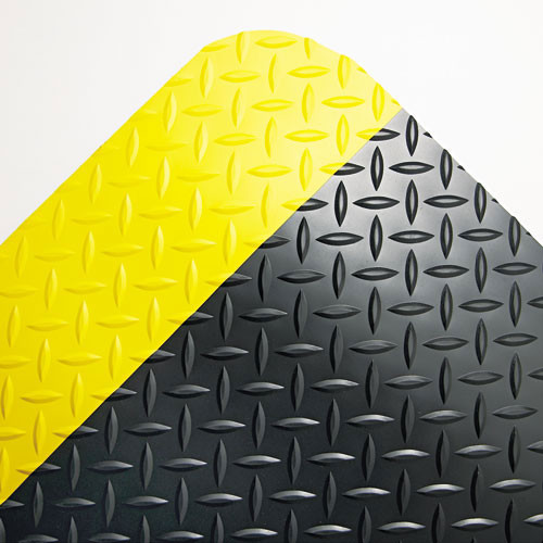 Crown cwncd0035yb industrial deck plate anti fatigue mat vinyl 36 x 60, black yellow border