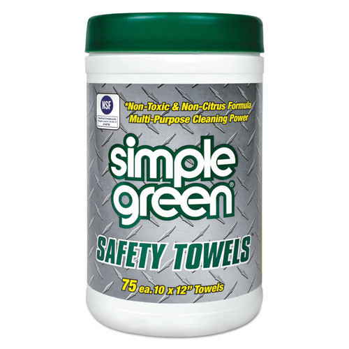 Simple Green smp13351ct safety towels, 10 x 11 3 4, 75 canister, 6 per carton