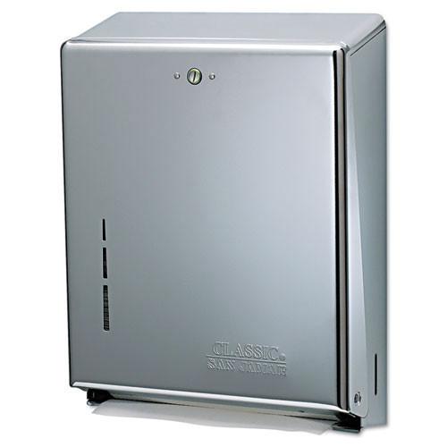San Jamar SJMT1900XC paper hand towel dispenser cfold or multifold holds 300 cfold or 500 multifold towels chrome