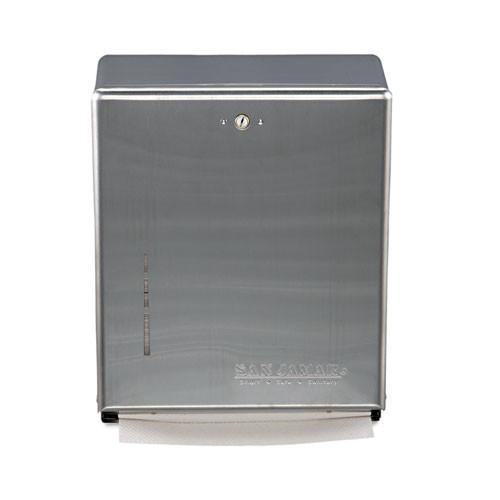 San Jamar SJMT1900SS paper hand towel dispenser combination cabinet cfold multifold stainless steel
