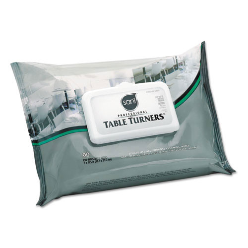 Nicpak nica580fw table turner wet wipes, 7 x 11 1 2, white, 80 wipes pack, 12 packs carton