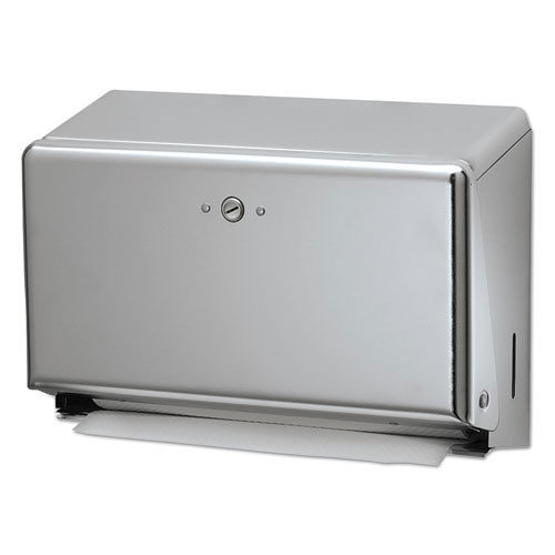 San Jamar SJMT1950XC paper hand towel dispenser mini combination cfold or multifold holds 150 cfold or 250 multifold towels chrome