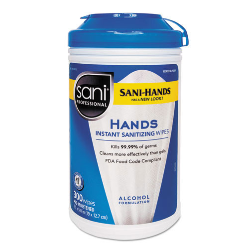 Nicpak nicp92084ct sani hands with tencel sanitizing wipes, 7 .5 x 5 1 2, 300 canister, case of 6