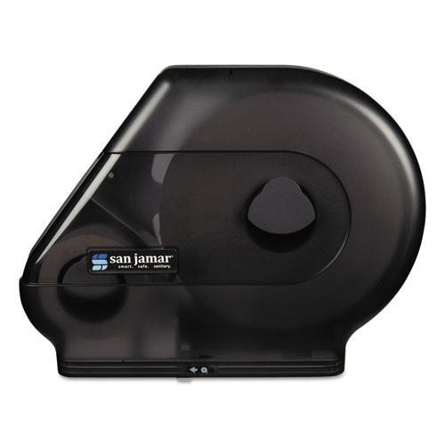 San Jamar SJMR6500TBK jumbo bathroom tissue dispenser holds one up to 13 inch and one 6 inch stub roll black plastic
