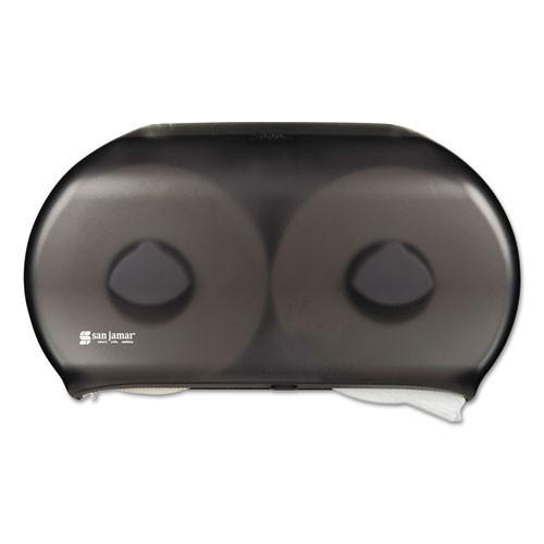 San Jamar SJMR4000TBK jumbo jr roll bathroom tissue dispenser holds two 9 inch rolls black plastic