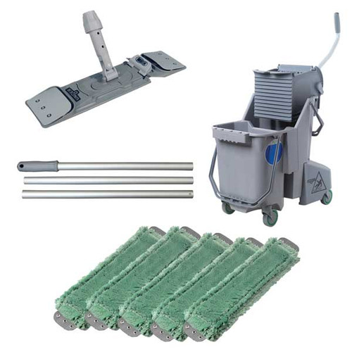 Unger combgkit microfiber green mopping kit includes gray bucket wringer mop handle mop holder 5 green mops gw