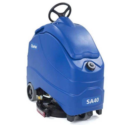 Clarke SA40 20D stand on disc floor scrubber 20 inch 56104486 140ah agm battery onboard charger 12 gallon with traction drive