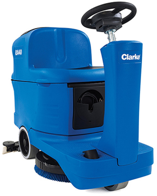 Clarke RA40 20D micro rider floor scrubber 20 inch 56384073 130ah wet battery onboard charger 12 gallon with traction drive