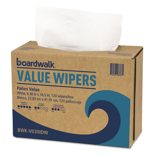 Boardwalk BWKV030IDW2 double recrepe DRC wipers white 9.33x16.5 case of 900 wipers