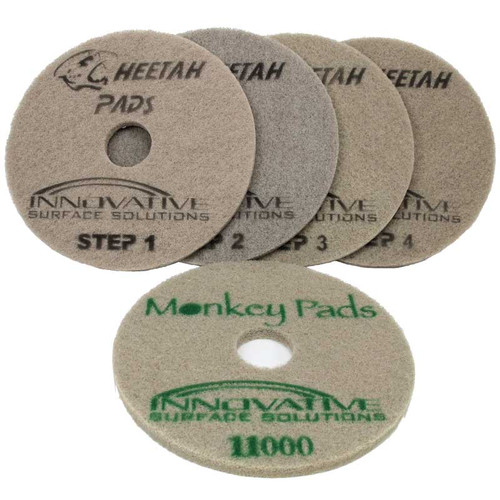 Cheetah Pads 17 inch one pad each Step 1 thru 4  plus 11,000 grit  Monkey Pad case of 5 diamond pads for polishing stone or concrete  CP17K