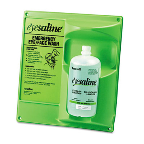 Fendall single eye wash safety station with one 32oz bottle of saline solution replaces glx7349 and bwk7349, Honeywell, FND3200046100EA