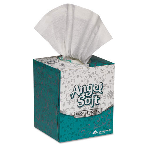 Angelsoft PS facial tissue cube box 7.65 x 8.85 tissues 96 tissues per box case of 36 boxes GPC46580CT