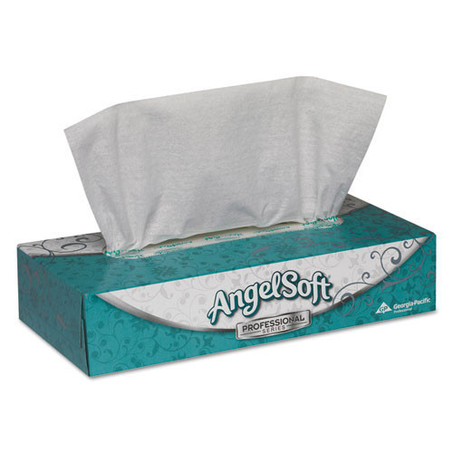 Angelsoft PS facial tissue flat box 7.65 x 8.85 tissues 100 tissues per box case of 30 boxes GPC48580CT