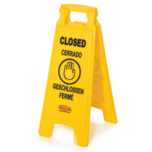Rubbermaid 611278yel floor sign closed 25 inch yellow