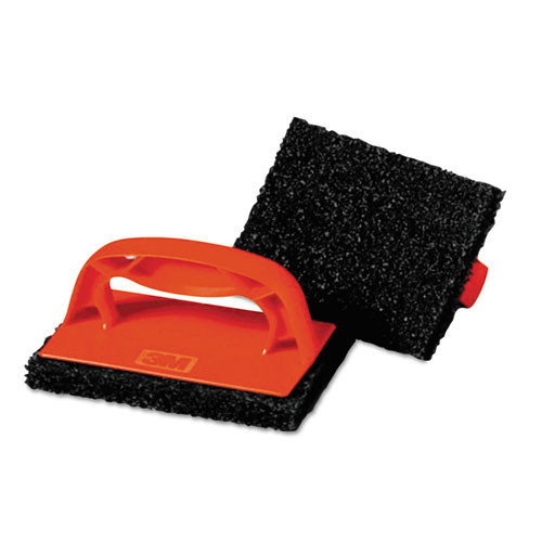 3M 9537CC ScotchBrick Griddle Scrub MMM59203 grill brick brown pad with red handle case of 12 replaces MCO59203