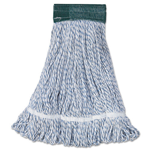 Boardwalk BWK552 floor finish looped end mop head medium 5 inch headband white with blue stripe case of 12