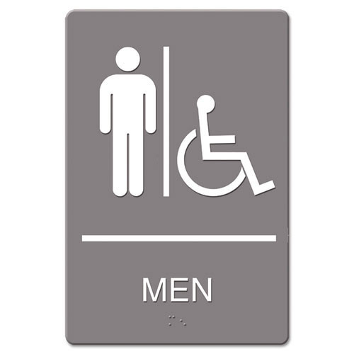 Men accessible restroom sign meets ada requirements 6x9 inch gray replaces ust4815 us stamp and sign uss4815
