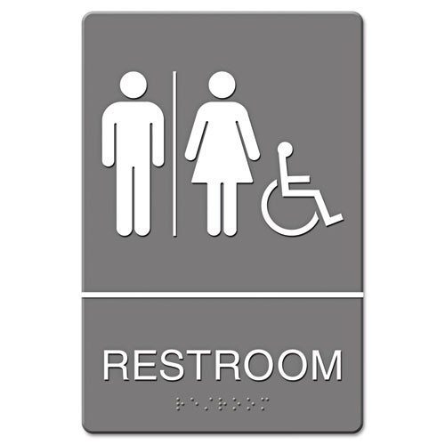 Restroom accessible sign meets ada requirements 6x9 inch gray replaces ust4811 us stamp and sign uss4811