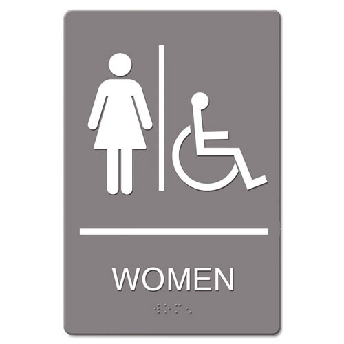 Women accessible restroom sign meets ada requirements 6x9 inch gray replaces ust4814 us stamp and sign uss4814