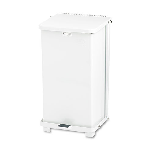 Rubbermaid st12eplwh step on trash can 12 gallon receptacle steel white
