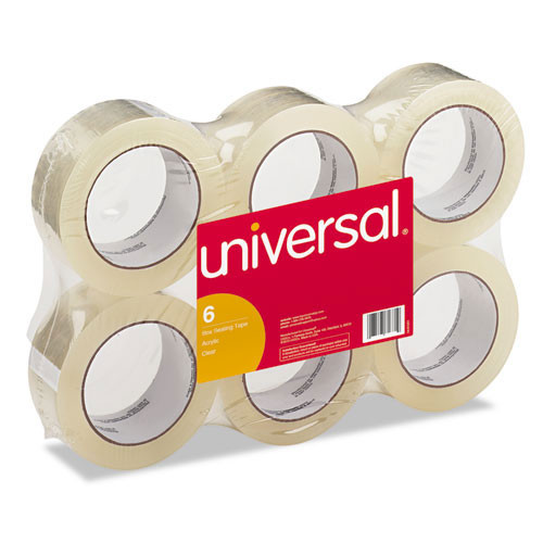 Carton sealing tape 2 inch X 109yd 1.85 mil clear 6 cs GW replaces UVS63500 Universal UNV63500
