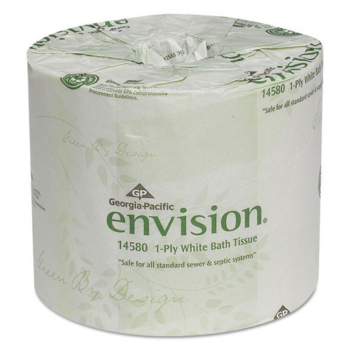 Envision GPC1458001 standard roll bathroom tissue 1 ply 1210 sheets 4.0x4.05 case of 80 rolls