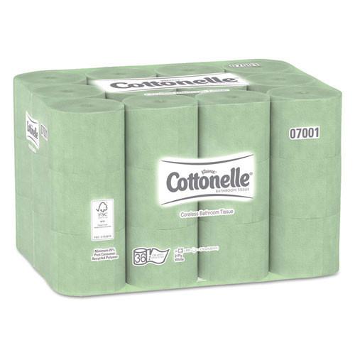 Kleenex KCC07001 Cottonelle standard coreless roll bathroom tissue 2 ply 800 sheets 4x4.4 case of 36 rolls