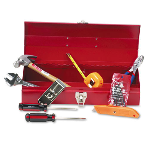 Tool kit with metal toolbox with 16 basic tools gnsctb9