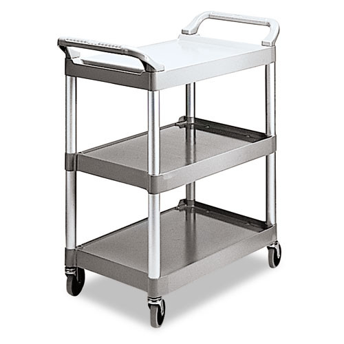 Rubbermaid 342488pla utility cart 3 shelf platinum plastic 18x33x37 inches replaces rcp342488pla rcp342488pm