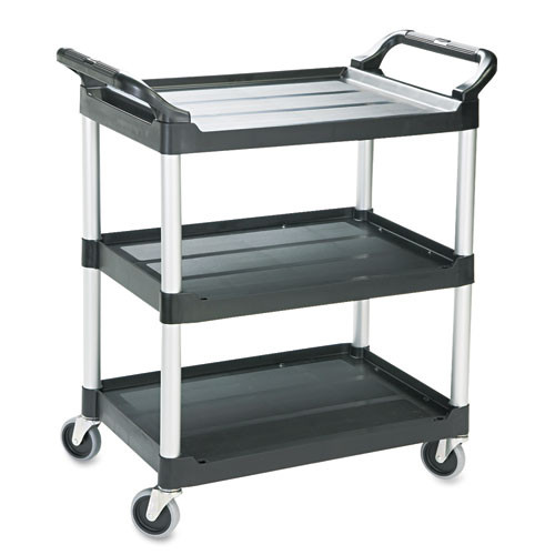 Rubbermaid 342488bla utility cart 3 shelf black plastic 18x33x37 inches