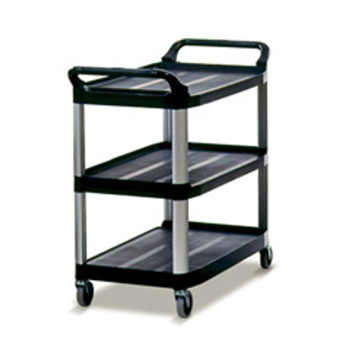 Rubbermaid 4091bla utility cart 3 shelf black plastic 40x20x37 inches replaces rcp4091bla rcp409100bla