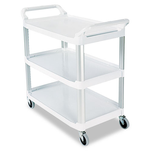 Rubbermaid 4091cre utility cart 3 shelf cream plastic 40x20x37 inches replaces rcp4091cre rcp409100cm