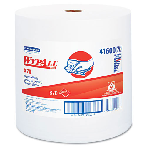 Wypall kcc41600 roll x70 workhorse rags 12.5x13.4 white case of 870 wipes