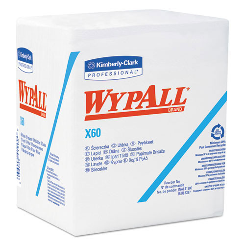 Wypall kcc34865 x60 teri 12.5x14.4 white 76 per pack 12 packs per case case of 912 wipes