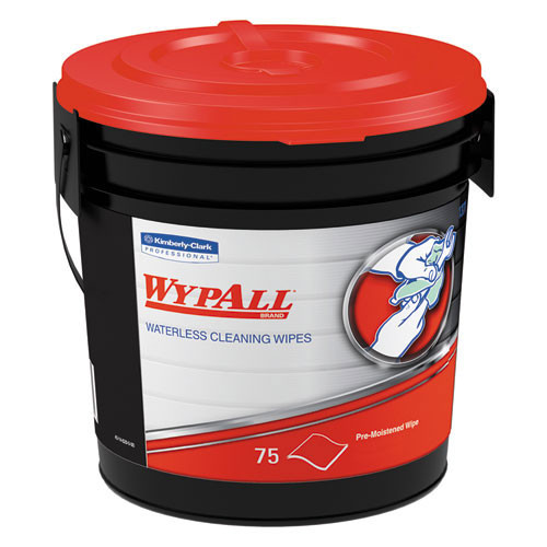 Wypall waterless hand cleaning wipes 75 per bucket 12x12 case of 6 buckets kcc91371ct