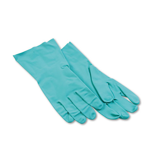 Boardwalk BWK183L nitrile gloves flock lined 13 inch large green 15 to 18 mil 6 pairs of gloves replaces glx183l