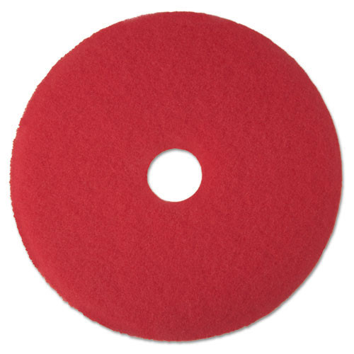 3M 5100 red buffing floor pads MMM08388 13 inch for spray buffing up to 600 rpm case of 5 pads replaces MCO08388
