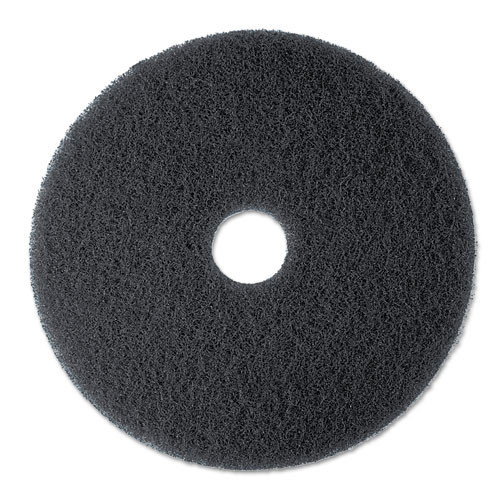 3M 7300 High Productivity black strip floor pads MMM08275 17 inch for stripping floor finish up to 600 rpm case of 5 pads replaces MCO08275