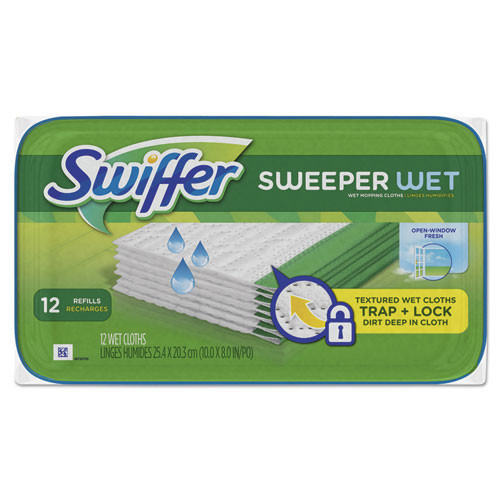 Swiffer wet refill cloths 10 inch wide case of 144 open window fresh replaces pgc35154ct, pgc95531ct