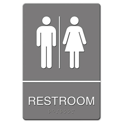 Restroom sign meets ada requirements 6x9 inch gray replaces ust4812 us stamp and sign uss4812