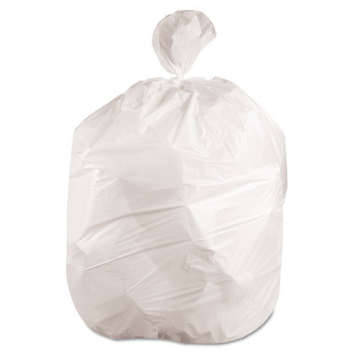 Boardwalk BWK2423EXH 10 gallon trash bags case of 500 white 24x23 linear low .40 mil regular strength coreless rolls