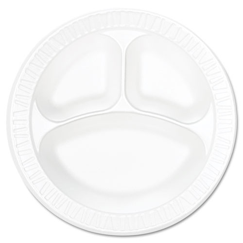 Concorde non laminated foam dinnerware plates 10.25 inch plate with three compartments case of 500 Dart Dcc10cpwc