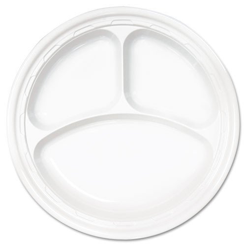 Impact plastic dinnerware 10.25 inch plate with three compartments case of 500 dart dcc10cpwf