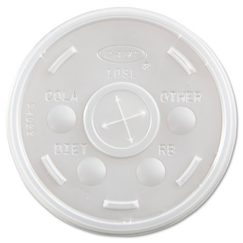 Plastic lids for hot or cold foam cups translucent straw slotted lid case of 1000 dart dcc10sl