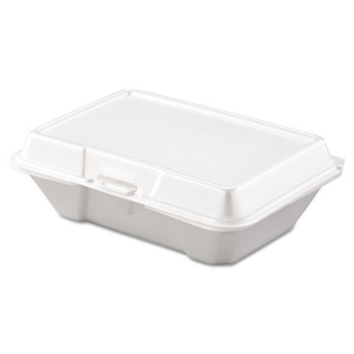 Foam hinged lid carryout containers all purpose single compartment 2 100s dart dcc205ht1