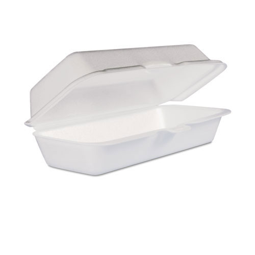 Foam hinged lid carryout containers hot dog case of 500 dart dcc72ht1